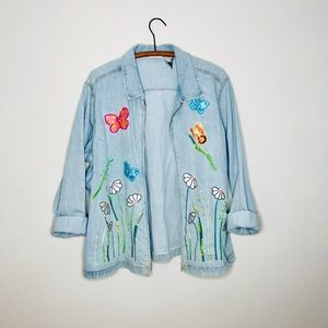 Vintage Retro 90's Embroidered Denim Jean Jacket